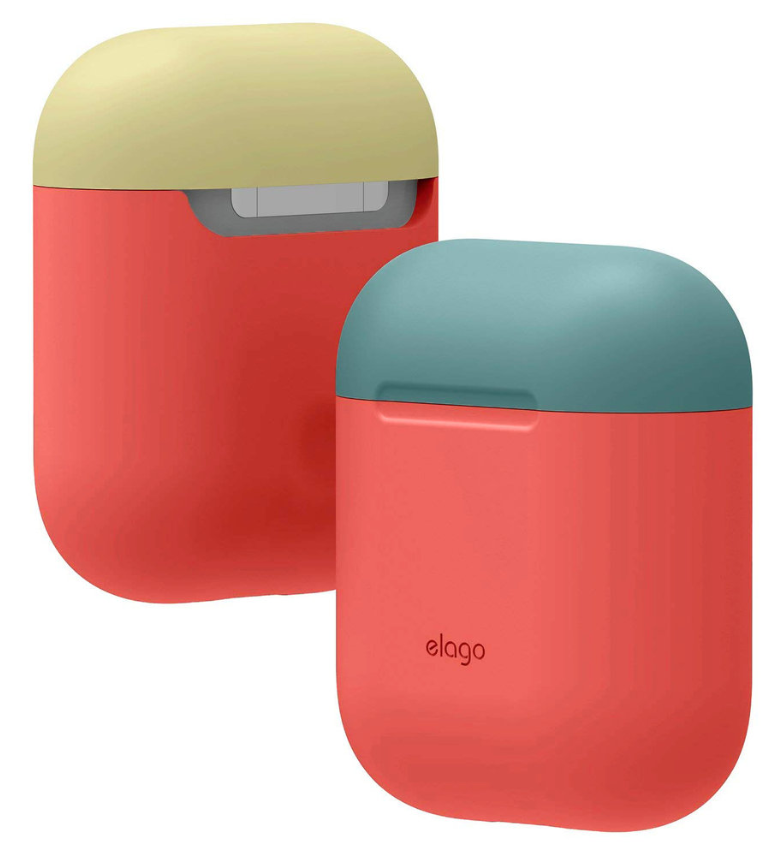 Elago AirPods Duo Case / Body-Italian Rose / Top-Coral Blue, Yellow