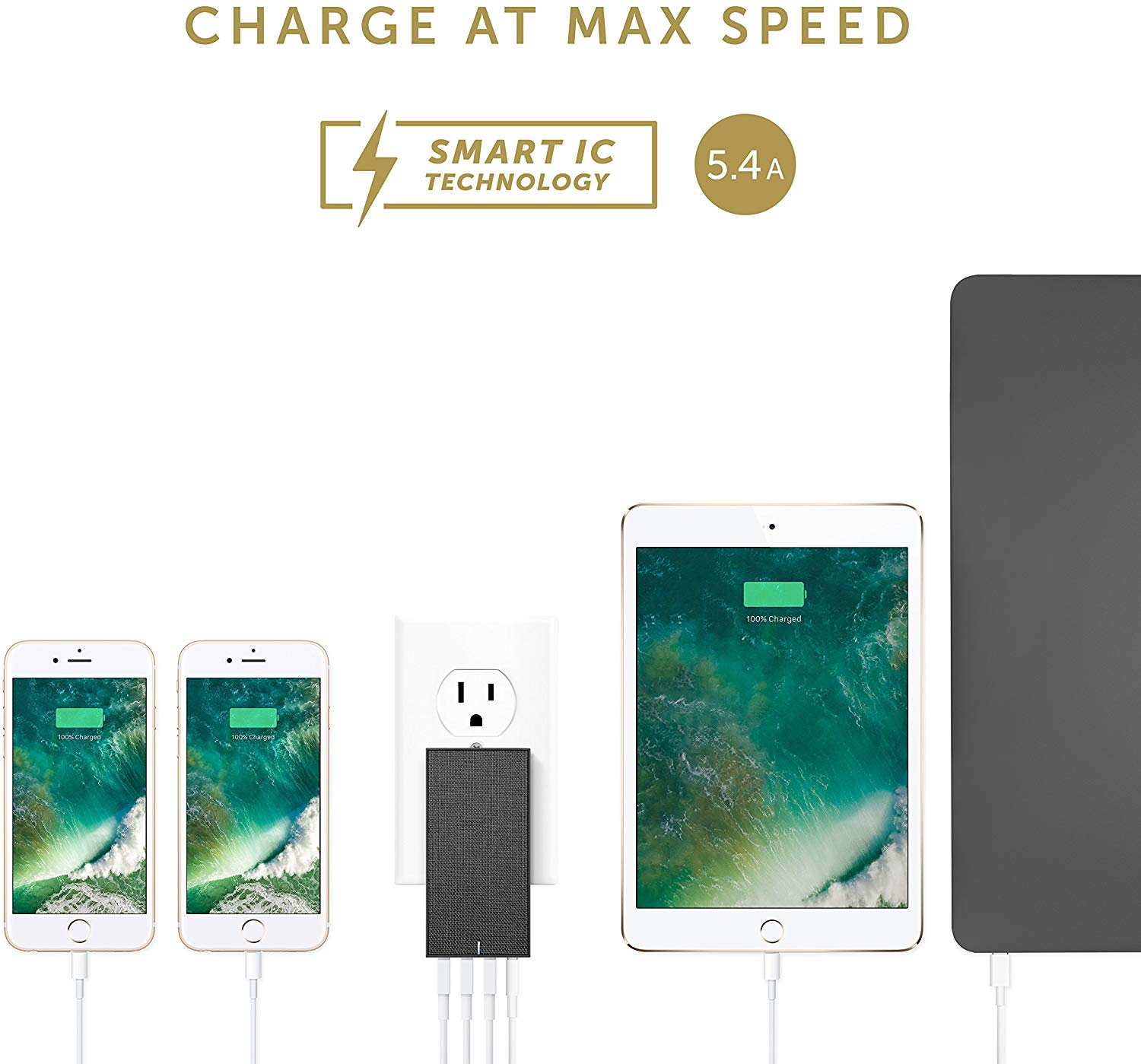 Native Union Smart Charger 4-USB Fabric-INTL-Slate